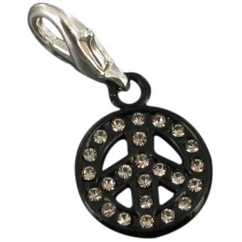 Charms peace & love noir strass