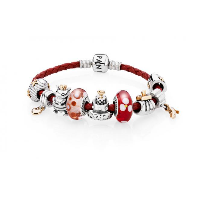 Bracelet cuir rouge et clip argent