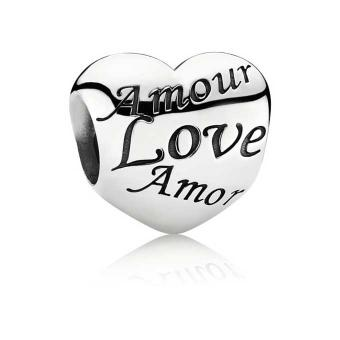Charm argent massif Love