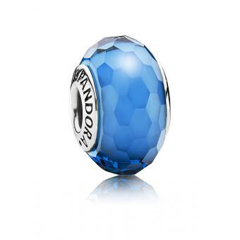 Pandora - Charm argent et verre de Murano turquoise à facettes