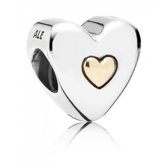 Pandora - Charm bicolore coeur gravé Happy Anniversary - Charms pandora moments