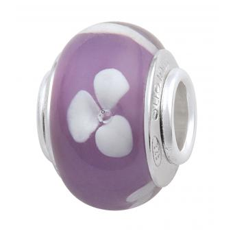 Amore & Baci - Perle verre de murano violet fleurs blanches - Charms murano