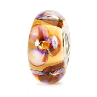 Trollbeads - Perle argent verre de Murano violettes ambre - Perles trollbeads