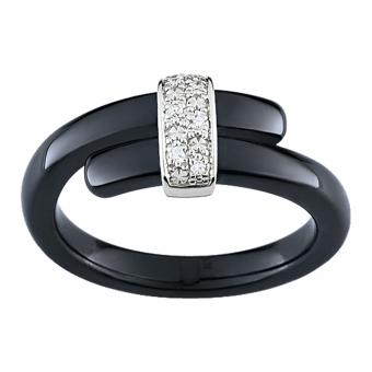 Ultimate Ceramic - Bague céramique noire Ultimate Or blanc multi-diamant - Promotions Bijoux Charms