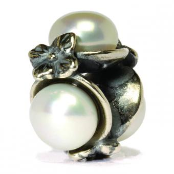 Trollbeads Perle argent triples perles blanches TAGBE-00094