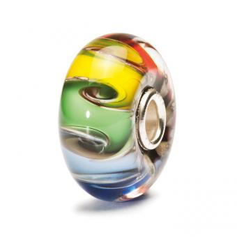 Trollbeads - Perle argent verre de Murano aux couleurs Chakra - Perles murano
