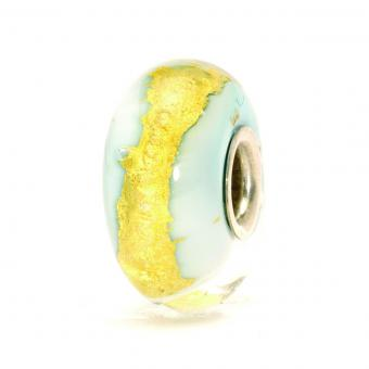 Trollbeads Perle argent verre de Murano or bleu clair TGLBE-20052