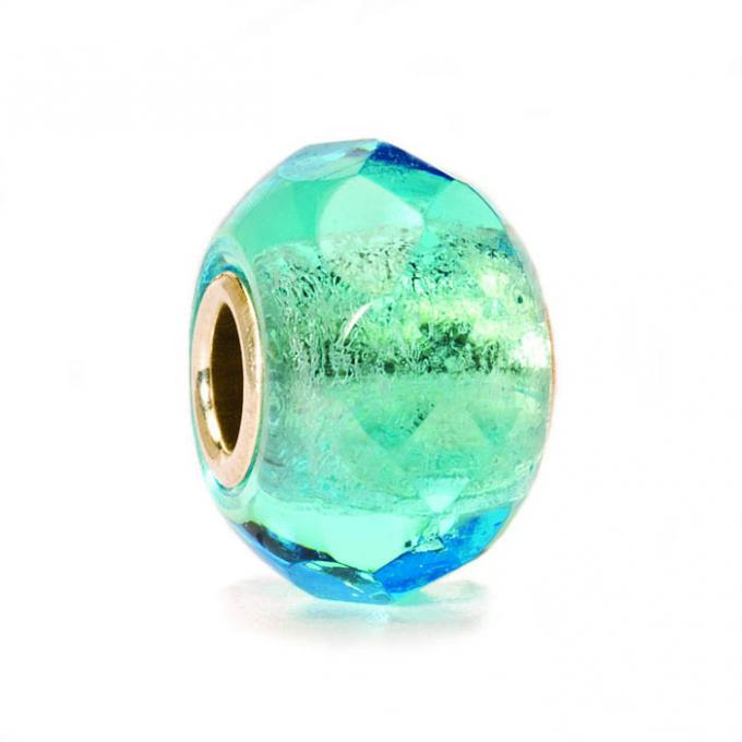 Trollbeads Perle argent verre de Murano prisme turquoise clair TGLBE-10221 Trollbeads