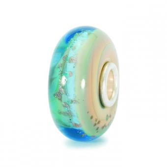 Trollbeads - Perle argent verre de Murano plage - Charms murano