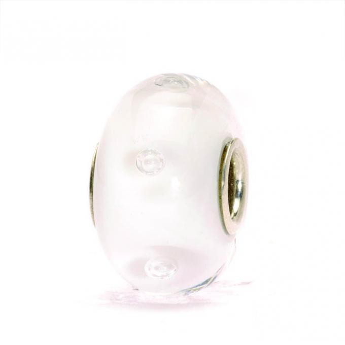Trollbeads Perle argent verre de Murano bulles d'air blanches TGLBE-10231