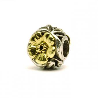 Trollbeads - Perle argent et or fleurs - Charms or