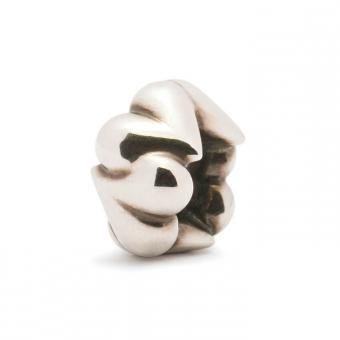 Trollbeads Perle argent coeurs organiques TAGBE-20031