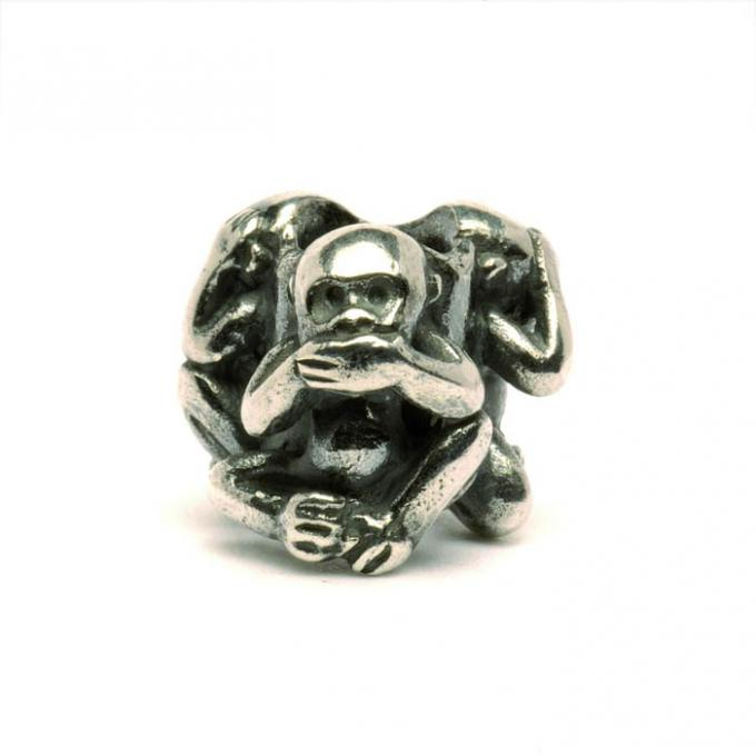 Trollbeads Perle argent trois singes TAGBE-20092