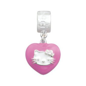 Amore & Baci - Charm argent coeur émail rose Hello Kitty KJ021