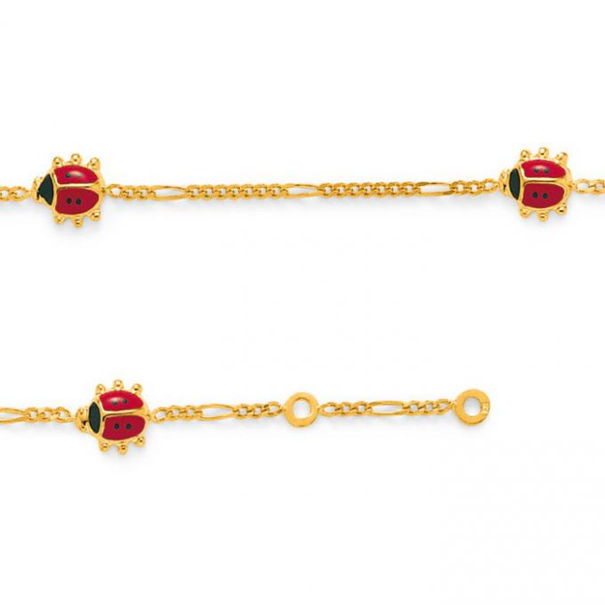 Lookéor Bracelet plaqué or coccinelle laque rouge 17 cm 22228690101170 Lookéor
