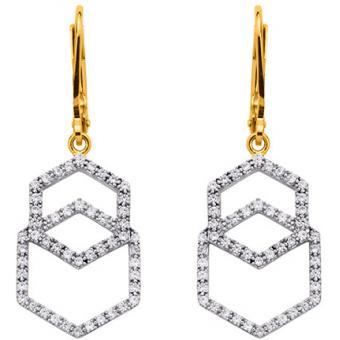 Altesse - Boucles d'oreilles Altesse 70268870108 - Double Hexagone Pendents Femme