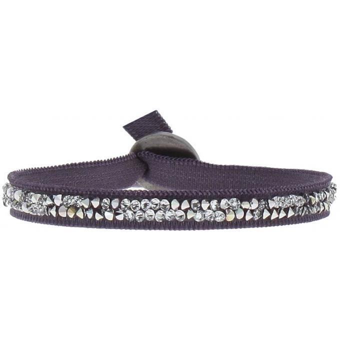 bracelet tissu violet cristaux swarovski a24949 les interchangeables bracelet sur look or. Black Bedroom Furniture Sets. Home Design Ideas
