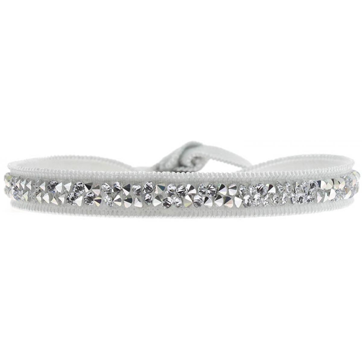 Bracelet Tissu Gris Cristaux Swarovski A24954