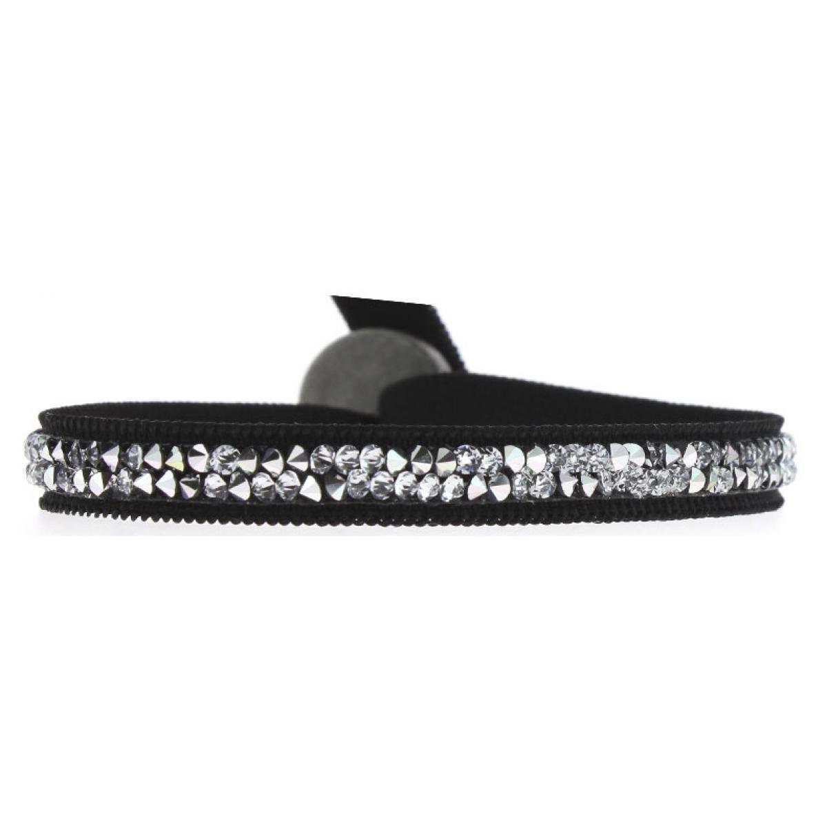 Bracelet Tissu Noir Cristaux Swarovski A24957