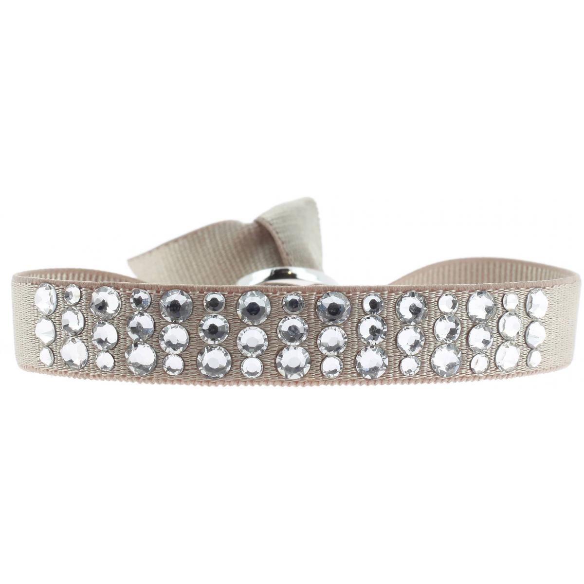 Bracelet Tissu Beige Cristaux Swarovski A32509
