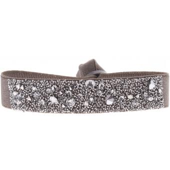 bracelet tissu marron cristaux swarovski a36981 les interchangeables bracelet sur look or. Black Bedroom Furniture Sets. Home Design Ideas