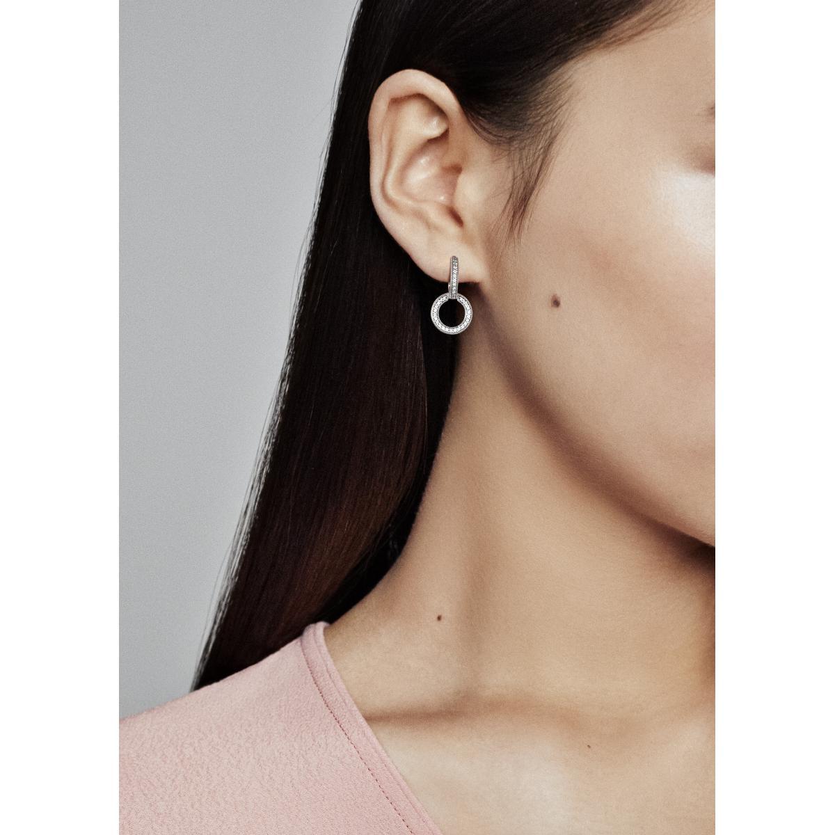 Creoles rondes et Signature Pandora 299052C01 - Boucles d'oreilles Pandora  Femme