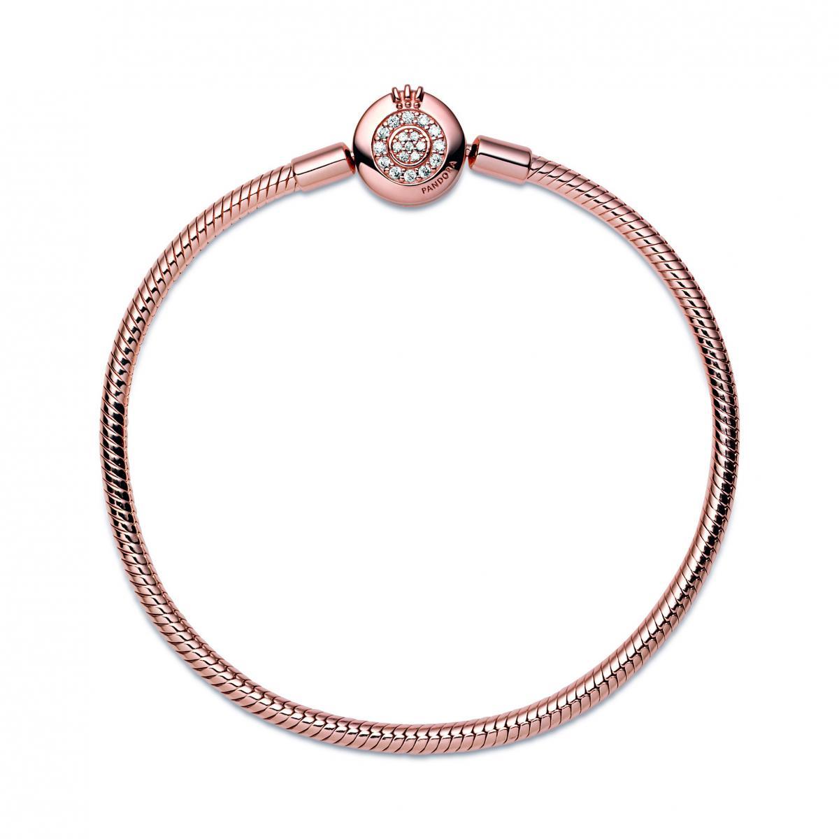 Bracelet Maille Serpent Fermoir O Couronne Scintillant 589046C01 - Bracelet  Femme