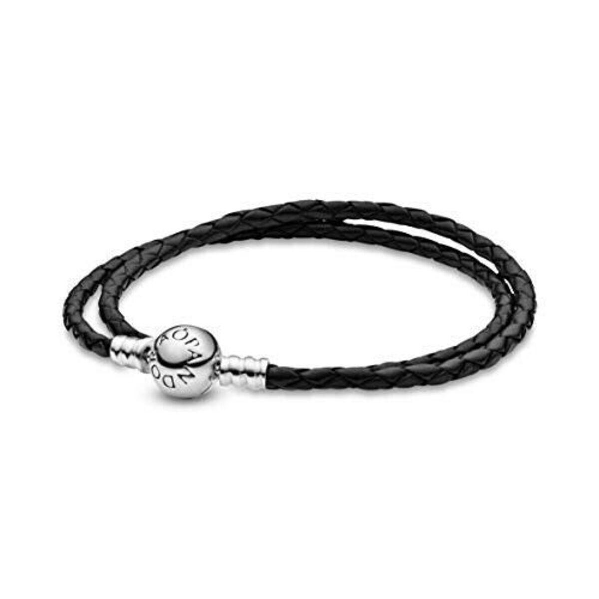Bracelet Femme Pandora Bijoux 590745CBK-D1 - Bracelet Double Tressé en Cuir  - noir