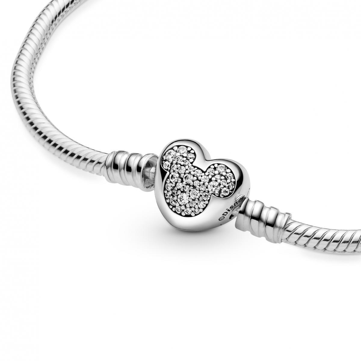 Bracelet Disney Maille Serpent Fermoir Cœur Mickey Moments 599299C01  Pandora Bijoux