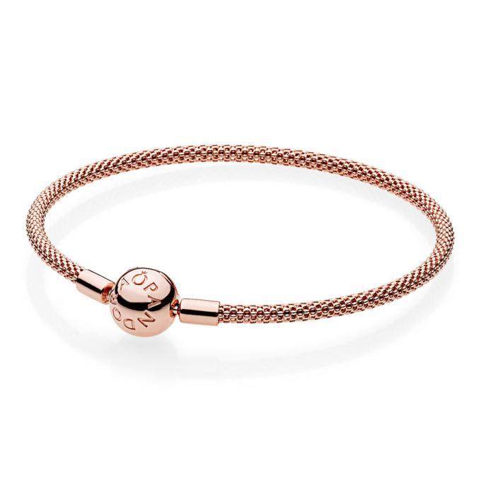 Bracelet Maille Tissée Moments Rose