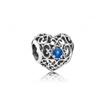 Pandora - Cœur Signature Cristal Bleu - Charms pandora moments