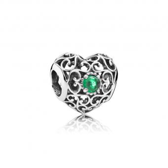 Pandora - Cœur Signature Cristal Vert - Charms pandora moments
