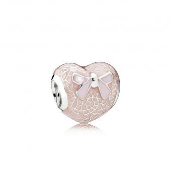 Pandora - Charm Cœur en Dentelle et Nœud Roses
