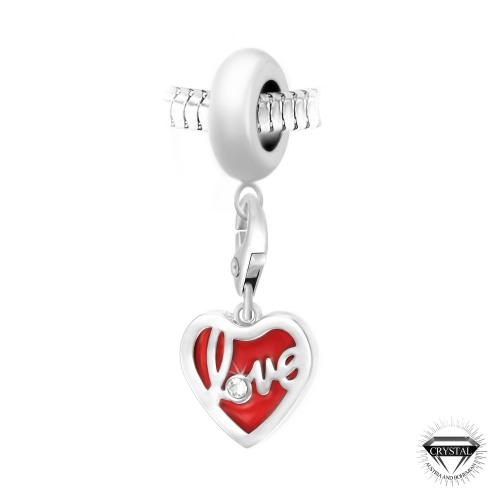 So Charm - BEA0044+CH0384-argent - Bijoux charms rouge