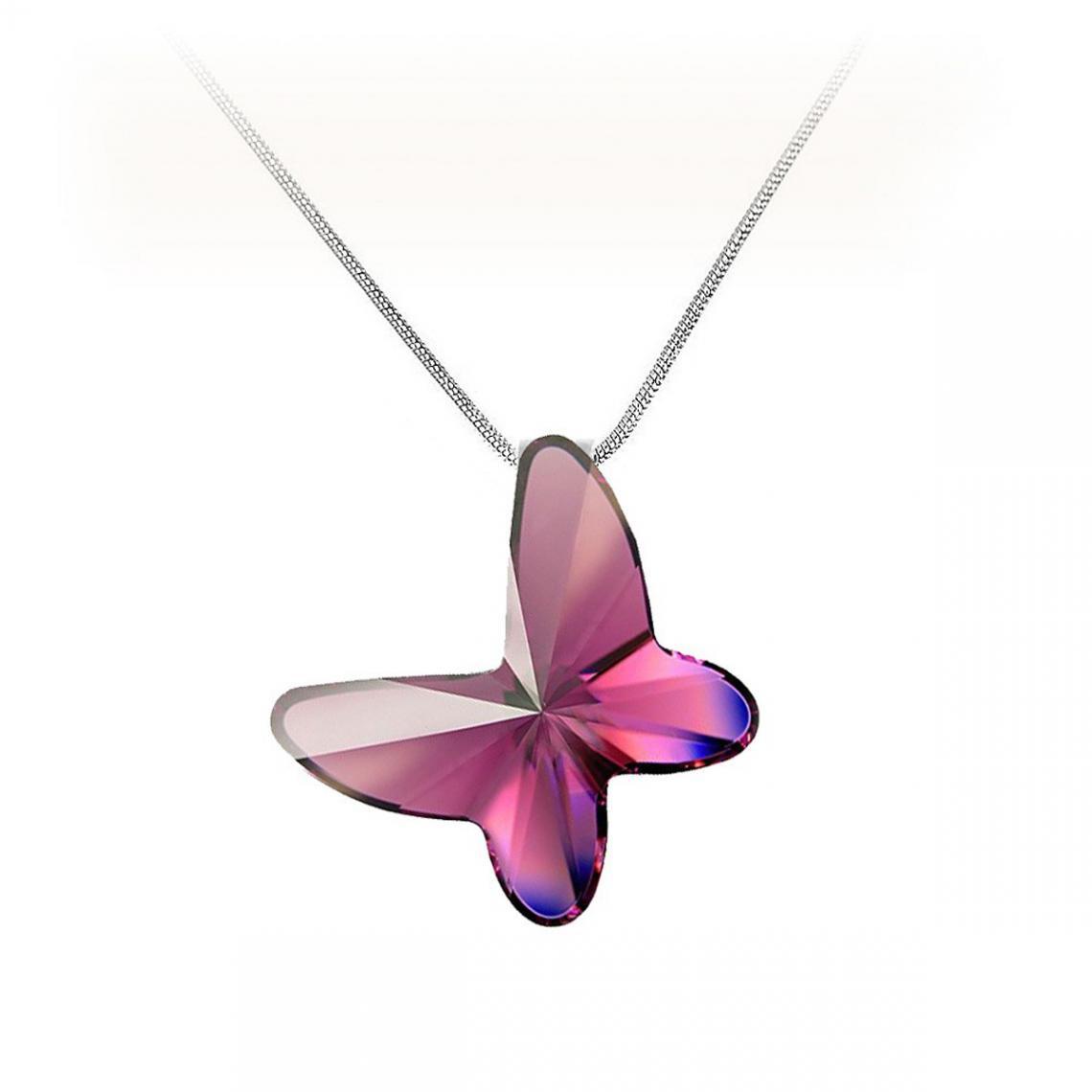 Collier argenté et papillon violet Cristal Swarovski