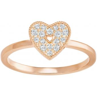 Swarovski Bague Swarovski Bijoux Field:Ring Folded Heart Silk/Ros - Cœur Or Rose Femme 5269951-55