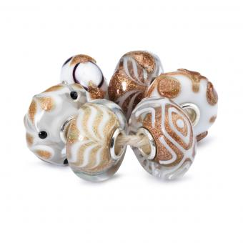 Charms Lot Hiver Marron Verre Trollbeads